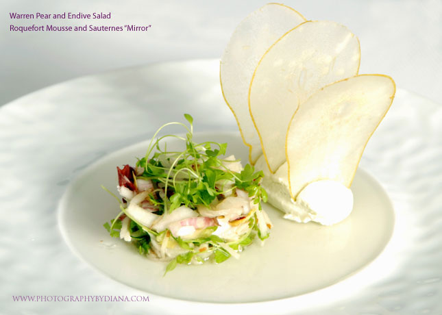photo of: Terrance Brennan Warren Pear and Endive Salad Roquefort Mousse and Sauternes Mirror