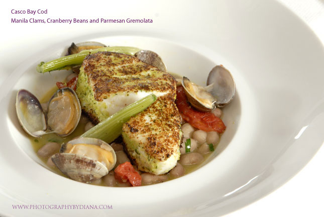 photo of: Terrance Brennan Casco Bay Cod - Manila Clams, Cranberry Beans and Parmesan Gremolata