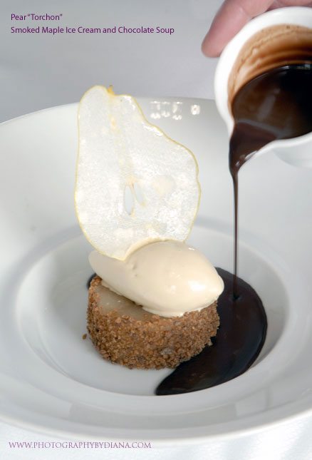 photo of: Terrance Brennan Pear Torchon Smoked Maple Ice Cream and Chocolate Soup