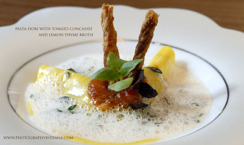 photo of: Gray Kunz Pasta Fiori with Tomato Concassée and Lemon-Thyme Broth