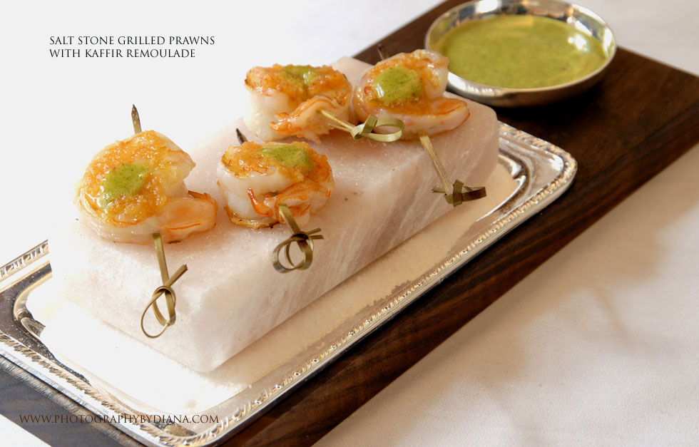 photo of: Gray Kunz Salt Stone Grilled Prawns with Kaffir Remoulade