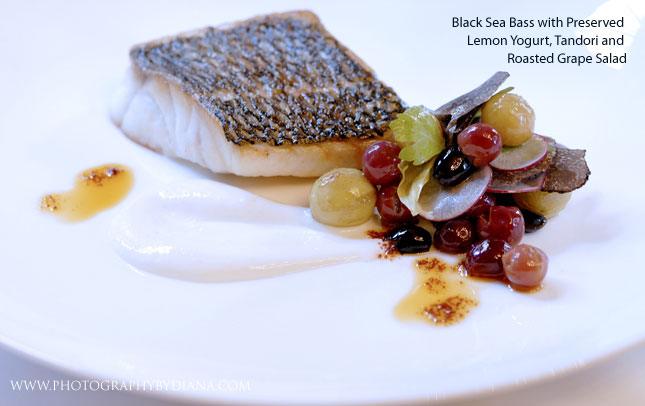 photo of: Craig Hopson -  Black Sea Bass with Preserved Lemon Yogurt, Tandori and Roasted Grape Salad