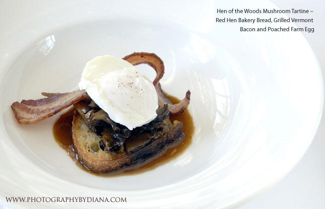photo of: Craig Tresser and Eric Warnstedt -  Hen of the Woods Mushroom Tartine – Red Hen Bakery Bread, Grilled Vermont Bacon and Poached Farm Egg