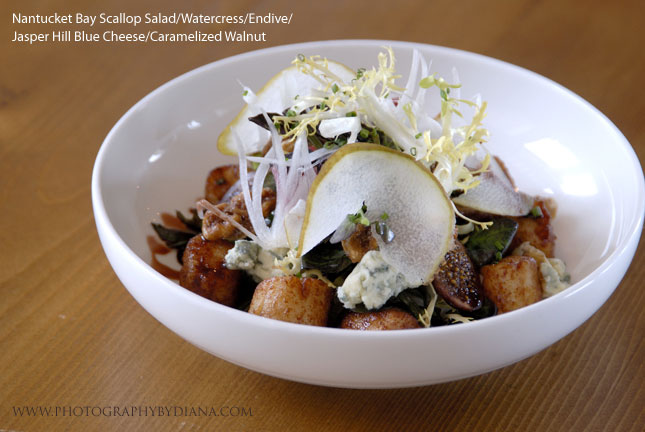 photo of: Laurent Tourondel Nantucket Bay Scallop Salad/Watercress/Endive/Jasper Hill Blue Cheese/Caramelized Walnut