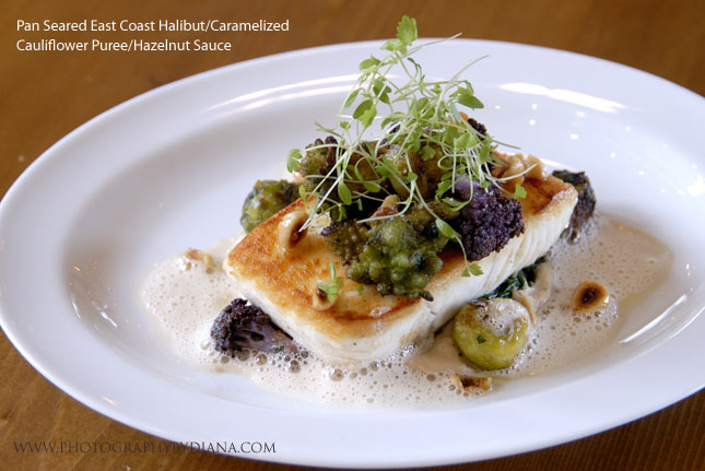 photo of: Laurent Tourondel PPan Seared East Coast Halibut/Caramelized Cauliflower Puree/Hazelnut Sauce