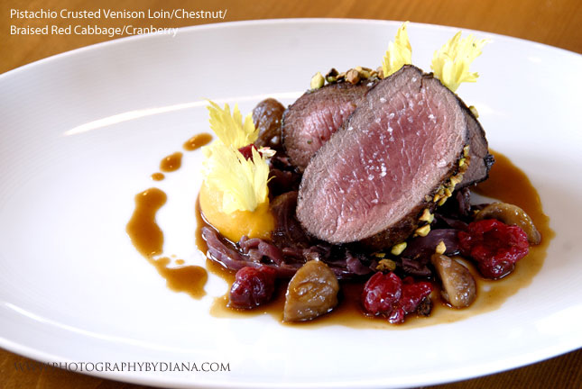 photo of: Laurent Tourondel Pistachio Crusted Venison Loin/Chestnut/Braised Red Cabbage/Cranberry