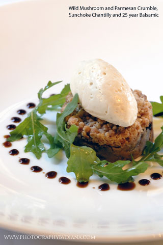 photo of: Craig Hopson -  Wild Mushroom and Parmesan Crumble, Sunchoke Chantilly and 25 year Balsamic