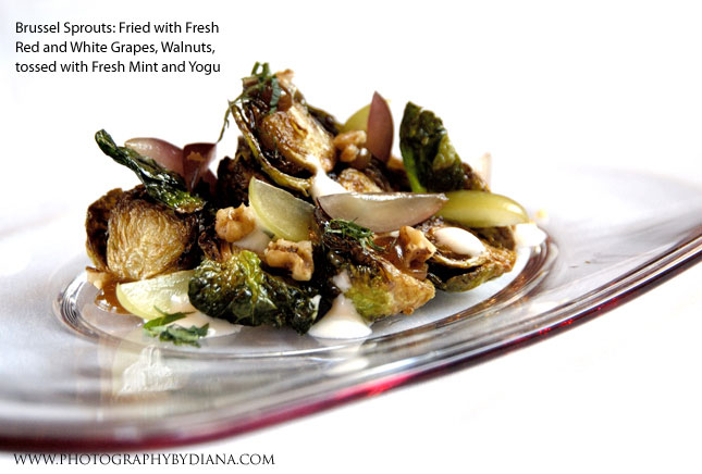 photo of Philippe Massoud: Brussel Sprouts: Fried with Fresh Red and White Grapes, Walnuts, tossed with Fresh Mint and Yogu