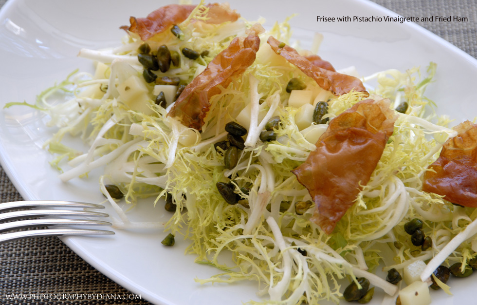 photo of: Frisee with Pistachio Vinaigrette and Fried Ham