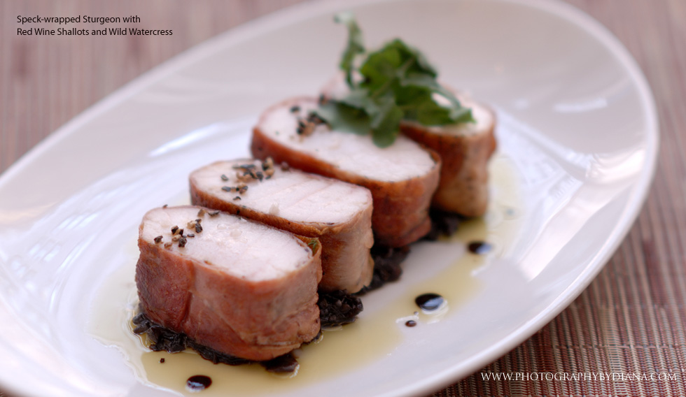 photo of: Speck-wrapped Sturgeon with Red Wine Shallots and Wild Watercress